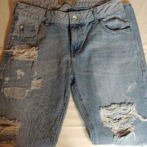 Zara Heritage Z1975 Straight Leg Jeans Distressed
